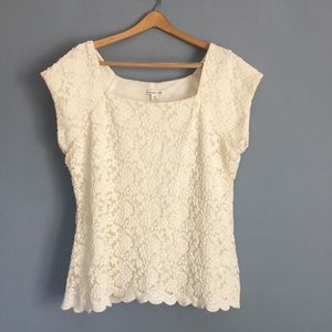 Coldwater Creek, cream lace top